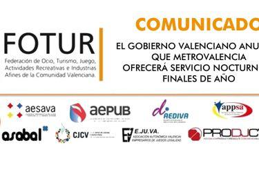 El Gobierno valenciano anuncia que Metrovalencia ofrecerá servicio nocturno a finales de año